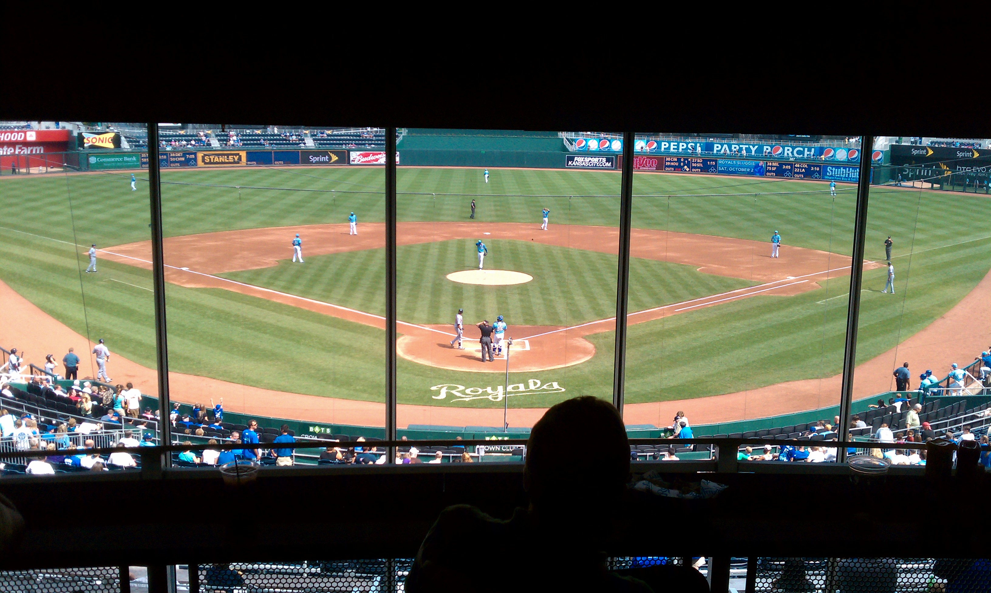 View from a barstool at the Diamond Club level